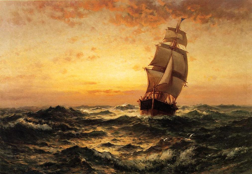 Edward-Moran-Ship-at-Sea-Sunset