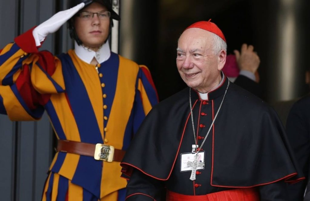 Italian Cardinal Francesco Coccopalmerio, president of the Pontifical Council for Interpreting Legislative Texts,  leaves the morning session of the extraordinary Synod of Bishops on the family at the Vatican Oct. 16. (CNS photo/Paul Haring)